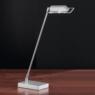 Design Tischleuchte, mattnickel/chrom, Höhe bis 49 cm verstellbar