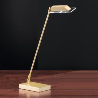 Design Tischleuchte, mattmessing/poliert, Höhe bis 49 cm verstellbar