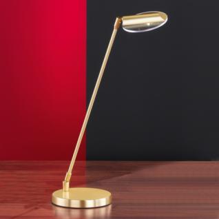 Design Tischleuchte, mattmessing/poliert, Glas klar Ø 10,5 cm