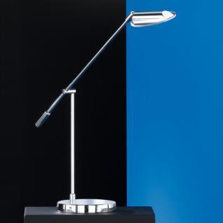 Design Tischleuchte, chrom, verstellbar, Glas klar Ø 10,5 cm