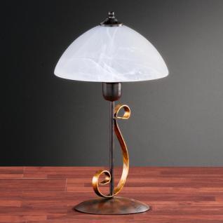 Design Tischleuchte, rostfarbig antik/goldfarbig, Glas Ø 25 cm