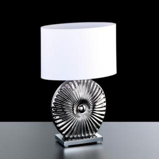 Design Tischleuchte, Keramik chrom, Schirm oval 38x23 cm