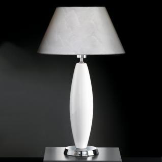 Design Tischleuchte Metall chrom Keramik weiß Höhe 58 cm
