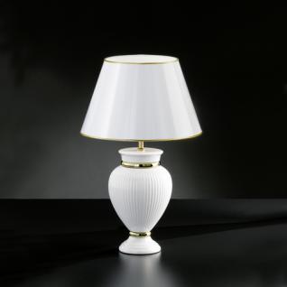 Design Tischleuchte Metall messing poliert Keramik weiß Höhe 47 cm - Vorschau