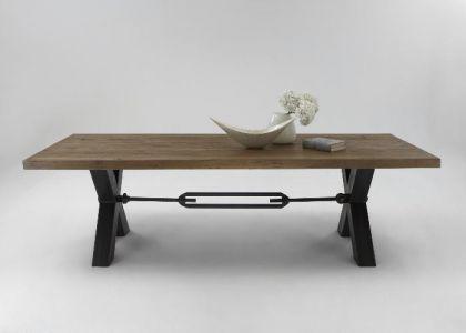 Esstisch aus massiv Eiche, Tisch im Industriedesign mit einem Gestell aus Metall, Breite 180 cm - Vorschau 2