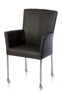Moderner Stuhl auf Rollen, Echtleder-Bezug in verschiedenen Farben - Vorschau 1
