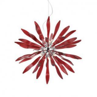 Pendelleuchte aus Glas und Chrom, Farbe rot