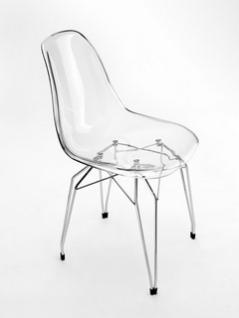 Design Stuhl aus Italien in Farben weiß oder transparent