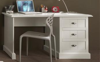 Schreibtisch Hampton im Landhausstil in weiß, 140 cm
