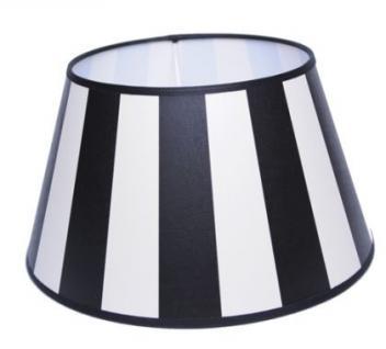 Lampenschirm klassisch, rund 30 cm, schwarz-creme/weiß gestreift - Vorschau