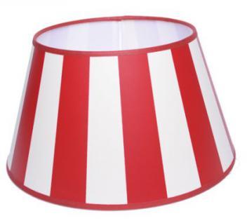 Lampenschirm klassisch, rund 30 cm, rot-creme/weiß gestreift