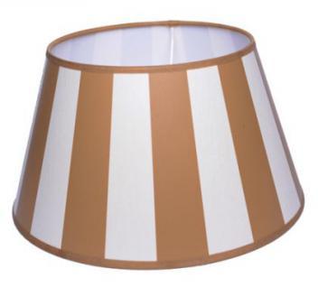 Lampenschirm klassisch, rund 30 cm, beige-creme/weiß gestreift - Vorschau