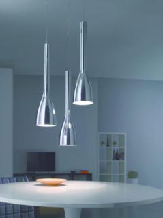 Moderne Pendelleuchte aus Metall in chrom und weiß modern in beliebigen Abständen und Höhen anbringbar