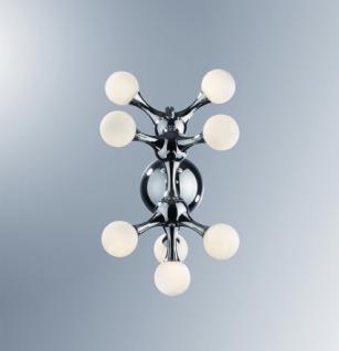 Decken-/ Wandleuchte Metall chrom, Glas weiß, modellierbar
