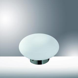 Tischleuchte Glas weiß, Metall chrom, modern