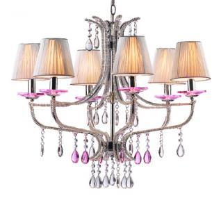 Kronleuchter Metall chrom, Glasperlen Kristall rosa, Stofffäden silber - Vorschau
