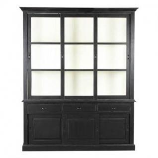 vitrinenschrank geschirrschrank im landhausstil mit sechs t ren und drei schubladen schwarz. Black Bedroom Furniture Sets. Home Design Ideas
