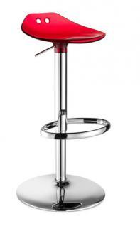 Design Bar-Tresenhocker, Stahl, Chrom, Rot