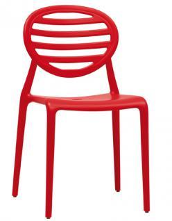 Design Stuhl Kunststoff modern rot