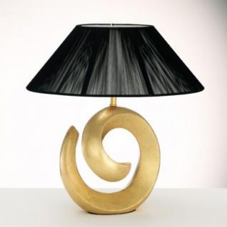 Tischleuchte Metall messing, Harz gold, Schirm Stoff Acrylfolie schwarz - Vorschau 2