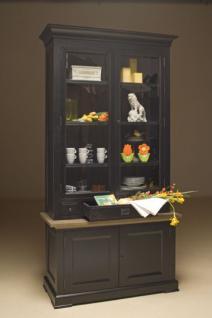 Vitrinen- Geschirrschrank mit vier Türen und drei Schubladen im Landhausstil in zwei Farben: creme-weiß und schwarz