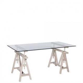 Höhenverstellbare Konsole / Sideboard aus Eichenholz massiv und Glas, 160 cm Länge
