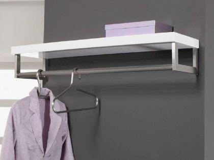 Wandgarderobe mit eine Hutablage und Kleiderbügelstange, Garderobe MDF, Edelstahl, Maße 90 x 28 cm