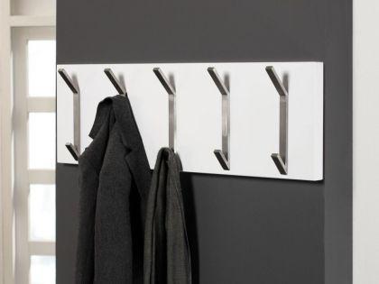 Wandgarderobe, Garderobe mit fünf Haken aus Edelsthl, Farbe anthrazit, Breite 90 cm - Vorschau