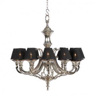 Kronleuchter mit zwölf Armen, vernickelt mit schwarzen Lampenschirmen, 75 cm Durchmesser - Vorschau 2