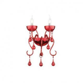 Wandleuchte Glas rot, Metall chrom