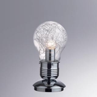 Tischleuchte Metall chrom, Glas transparent Aludraht - Vorschau