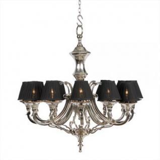 Kronleuchter mit zwölf Armen, vernickelt mit schwarzen Lampenschirmen, 75 cm Durchmesser - Vorschau 1