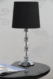 Moderne Tischleuchte verchromt mit einem schwarzen Lampenschirm - Vorschau 1
