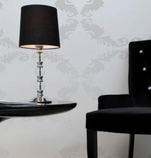 Moderne Tischleuchte verchromt mit einem schwarzen Lampenschirm - Vorschau 2