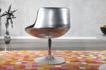 Design Sessel mit Aluminium beschichtet 360° drehbar - Vorschau 2