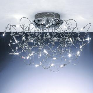 Deckenleuchte Metall chrom, Arme modellierbar, Kristall-Perlen - Vorschau