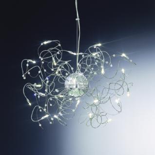 Pendelleuchte Metall chrom, Arme modellierbar, Kristall-Perlen, höhenverstellbar