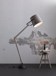 Design Stehleuchte, moderne Stehlampe aus Holz mit einem Textil Lampenschirm, Ø 38 cm