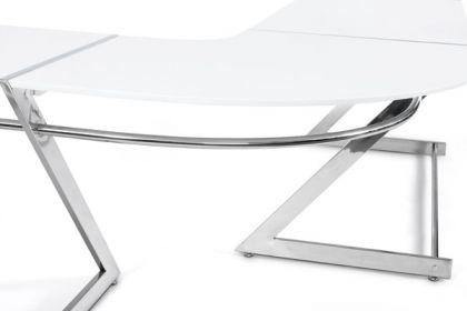 design b rotisch in wei modern verchromter stahlrahmen kaufen bei richhomeshop. Black Bedroom Furniture Sets. Home Design Ideas