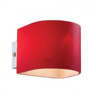 Wandleuchte Metall chrom Glas weiß rot - Vorschau