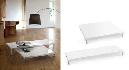 Couchtisch in drei Farben und drei Tischhöhen, Größe 100 x 100 cm, abgebildete Farbe: weiß Hochglanz