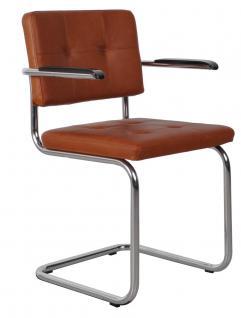 Designerstuhl aus echtem Leder in braun mit Armlehne