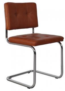 Designerstuhl aus echtem Leder in braun