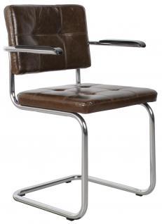 Designerstuhl aus echtem Leder in oliv mit Armlehne - Vorschau 1