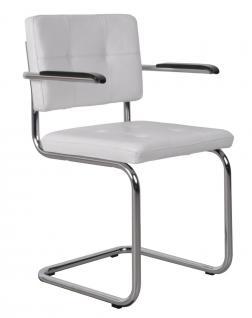 Designerstuhl aus echtem Leder in weiß mit Armlehne - Vorschau 1