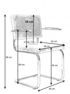 Designerstuhl aus echtem Leder in oliv mit Armlehne - Vorschau 2