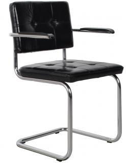 Designerstuhl aus echtem Leder in schwarz mit Armlehne - Vorschau 1