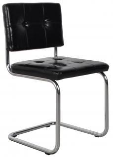 Designerstuhl aus echtem Leder in schwarz - Vorschau 1