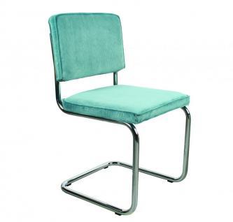 Designerstuhl aus Chrom/Kordgewebe in blau