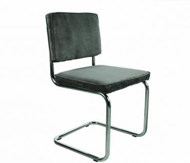 Designerstuhl aus Chrom/Kordgewebe in grau